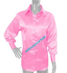 pink satin shirt womens