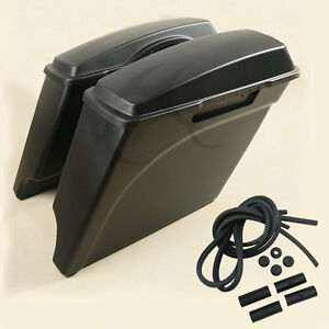 Matte Black 5 Stretched Hard Saddlebags For Harley Touring Electra Glide 93-13 Saddlebags & Accessories
