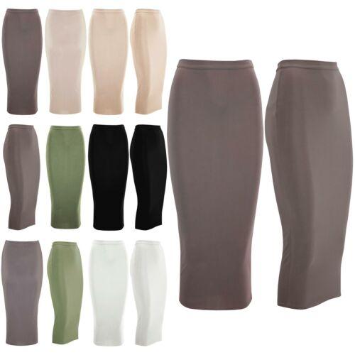 Womens Ladies Stretchy Elasticated Waist Band Casual Pencil Bodycon Midi Skirt