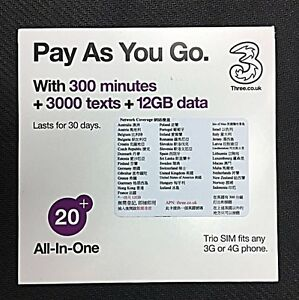 image is loading three 3 uk 4g 12gb prepaid data sim - Prepaid Sim Card Europe Data