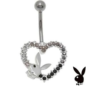 ce45fc5a4 Image is loading Playboy-Belly-Button-Ring-Heart-Bunny-Crystal-Curved-