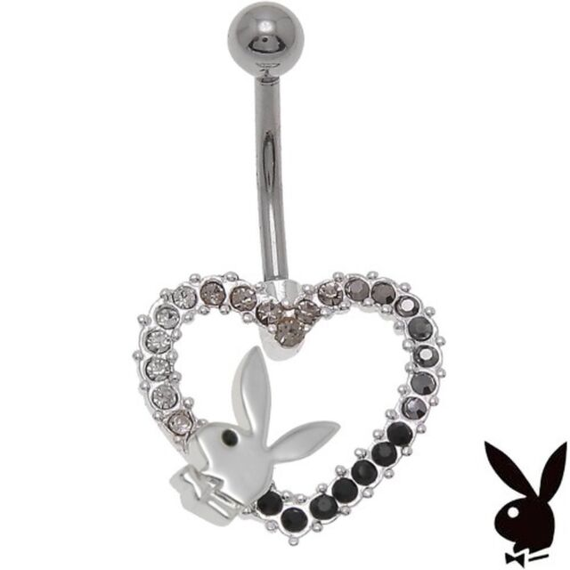 Playboy Belly Ring Body Jewelry 14g Surgical Steel Heart Bunny Black GRADUATION