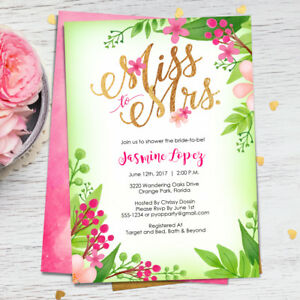 67d6f80f73c Bridal Shower Invitations - Miss to Mrs. - Pink   Green - Floral ...