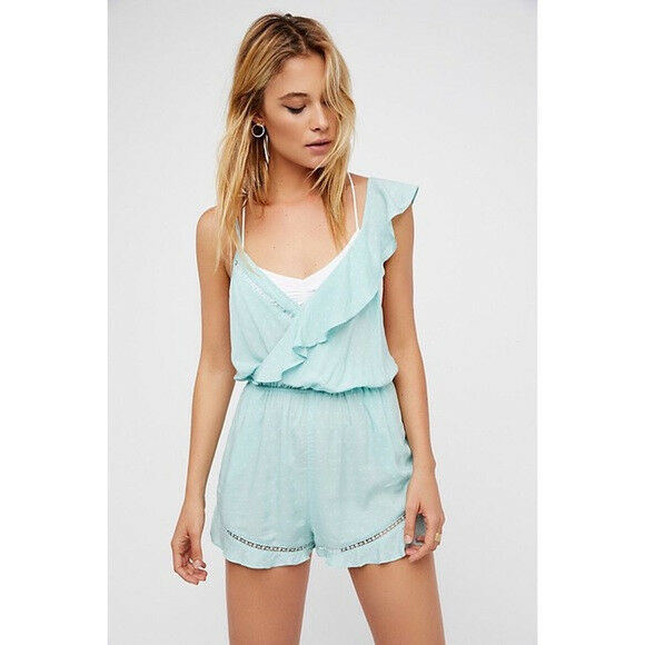 Intimately Free People One of Those Days Aqua Mint Romper Extra Small NWT