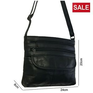 Ladies-Black-Leather-Shoulder-Bag-Work-Travel-Soft-Handbag-Satchel-Multi-Zips
