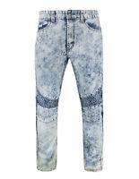 Acid Wash Denim BIKER PANTS JOGGERS  biker jeans Fashion Mens Pants FREE SHIP