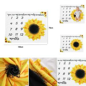 AU-Baby-Monthly-Milestone-Blanket-Sunflower-Printing-Swaddling-Wrap-Photo-Prop