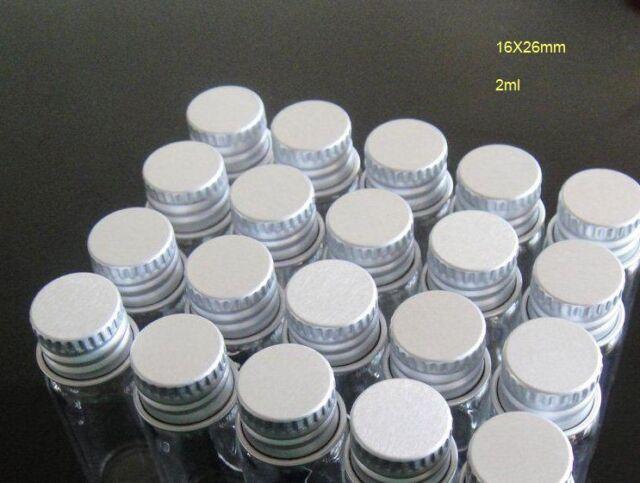 10pcs 16x26mm Tiny Mini Small Clear Bottles Glass Vials 2.0ml 1//2 Dram with Caps