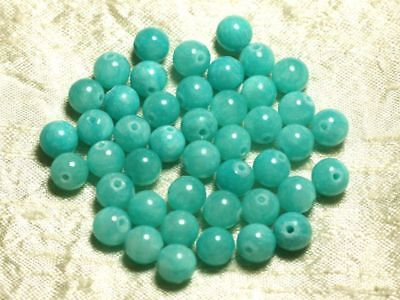 Perles de Pierre Turquoise Synthèse Reconstituée Boules 8mm Fil 39cm 48pc env