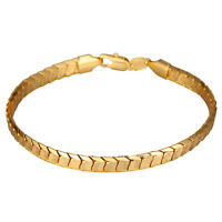 18k Gold Plated Bracelet Scale Chain Indian Mens Unisex Lobster Clasp L62