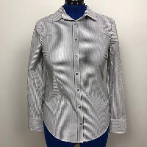 J-Crew-Women-039-s-Size-Small-Perfect-Black-White-Stripe-Button-Down-Shirt-NWT