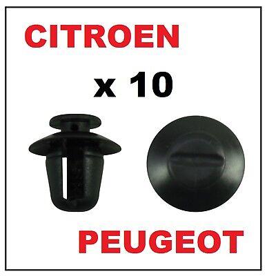 CITROEN PEUGEOT FIAT moulage clips en plastique x 10 noir de nouvelles pièces