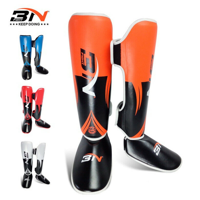 High Quality Boxing Shin Guards  PU Leather MMA Boxing Taekwondo Legs Predector  clearance up to 70%