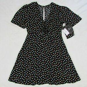 Volcom-Women-039-s-Black-Multi-Color-Dot-Short-Summer-Dress-New-B1321815