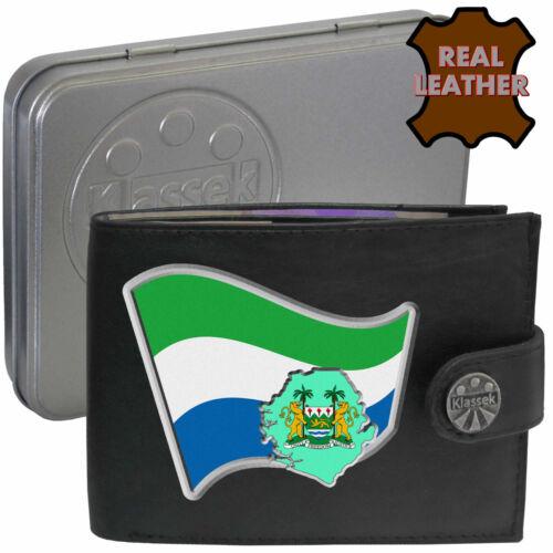 SIERRA LEONE Mens Klassek Leather Wallet SIERRA LEONIAN Flag map gift Metal Box