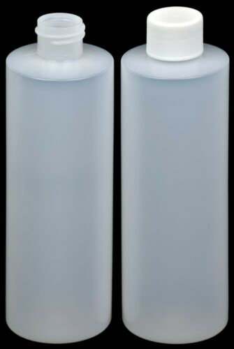 New w//White Lid 4-Pack HDPE Natural 8-oz. Plastic Bottle