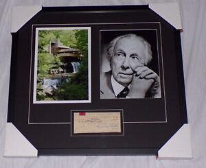 Frank-Lloyd-Wright-Signed-Framed-20x22-Photo-amp-1949-Check-Display-Fallingwater