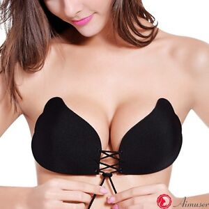 91a0bed6c4e95 STRAPLESS BACKLESS BRA Push Up Stick On Silicone Lingerie Drawstring ...