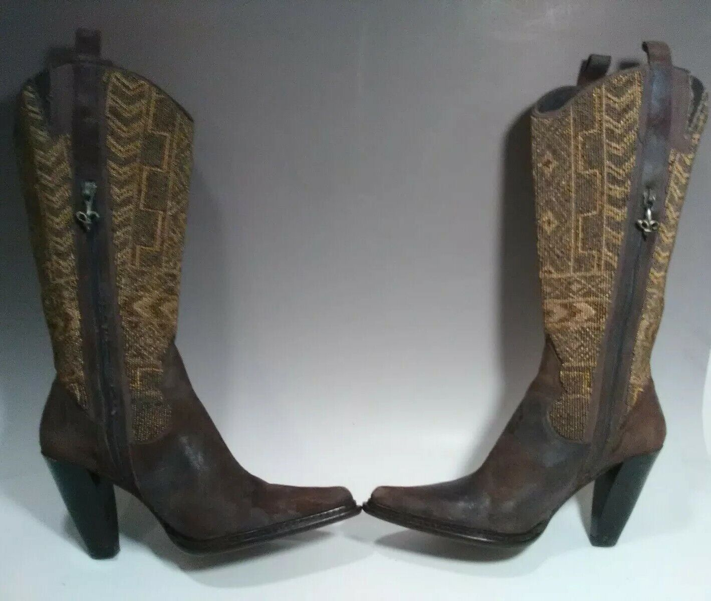 Donald J Pliner goldie goldie goldie Western Couture Boots gold Beaded Suede Leather BrownSZ 9 6bc6bb