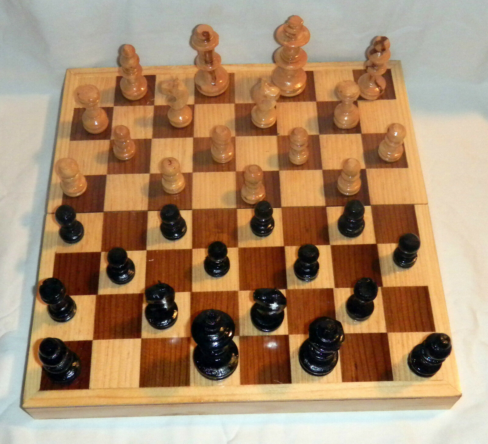 12X12 Square Box All Wood Pcs Ajedrez Chess Game Set Handcrafted In Mexico Nuovo