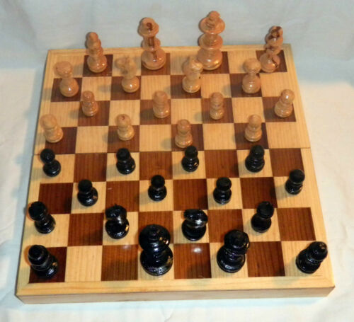 10X10 Square Box All Wood Pcs Ajedrez Chess Game Set Handcrafted In Mexico New