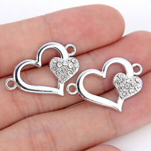 30Ps Silver Heart Charm Connector for Jewelry Making Bracelet Earrings Craft DIY