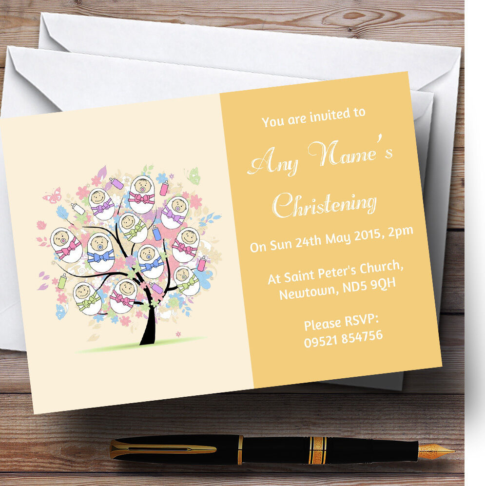 Baby Tree orange Christening Party Personalised Invitations