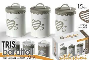 Dettagli Su Barattolo Latta Set 3pz Decoro Cuore 11x15cm Shabby Chic Porta Sale Zucche Caffe