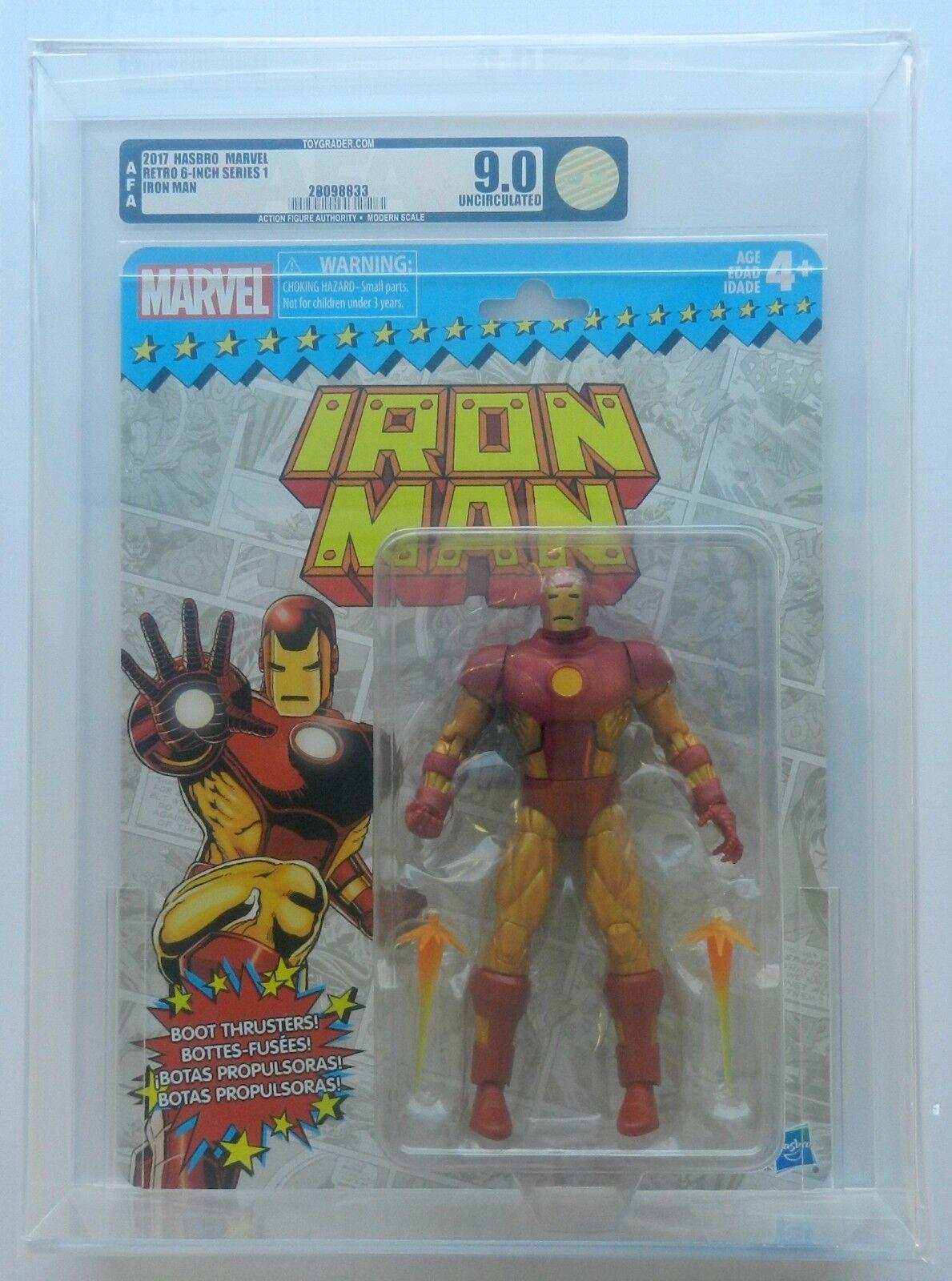 2017 Hasbro Marvel Retro 6 Inch Series 1 Iron Man AFA U9.0