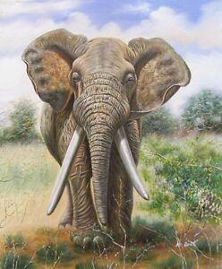Signed-Art-Hand-Painted-Oil-Painting-on-Canvas-20x24-Safari-Elephant