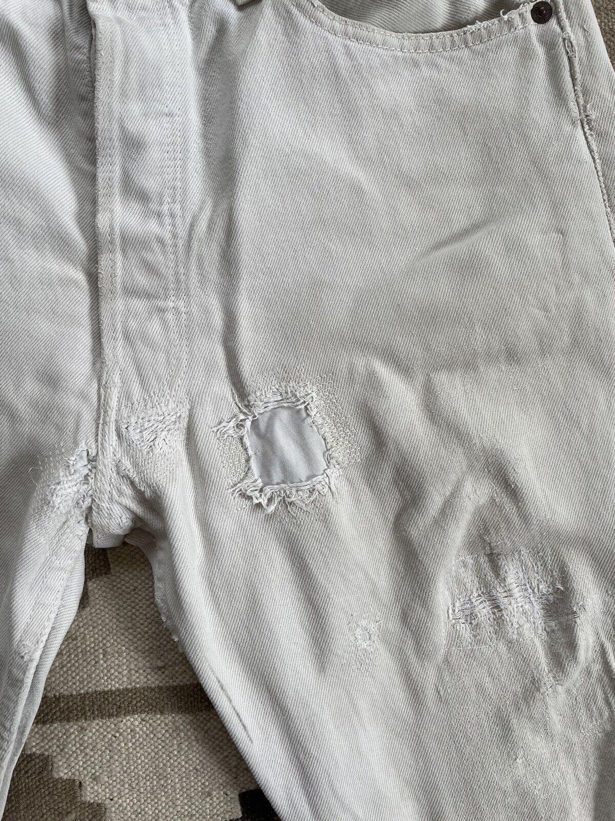 Vintage Levi's 501 Custom Distressed White Denim … - image 3