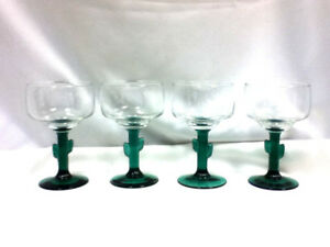 Cactus-footed-stemmed-glass-glasses-4-margarita-cocktail-bar-glassware-IX5