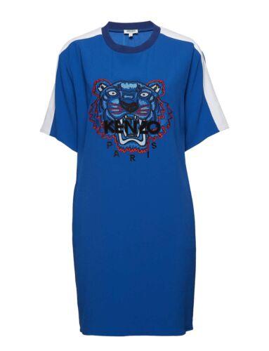 Kenzo Ladies Blue Crepe Tiger Dress