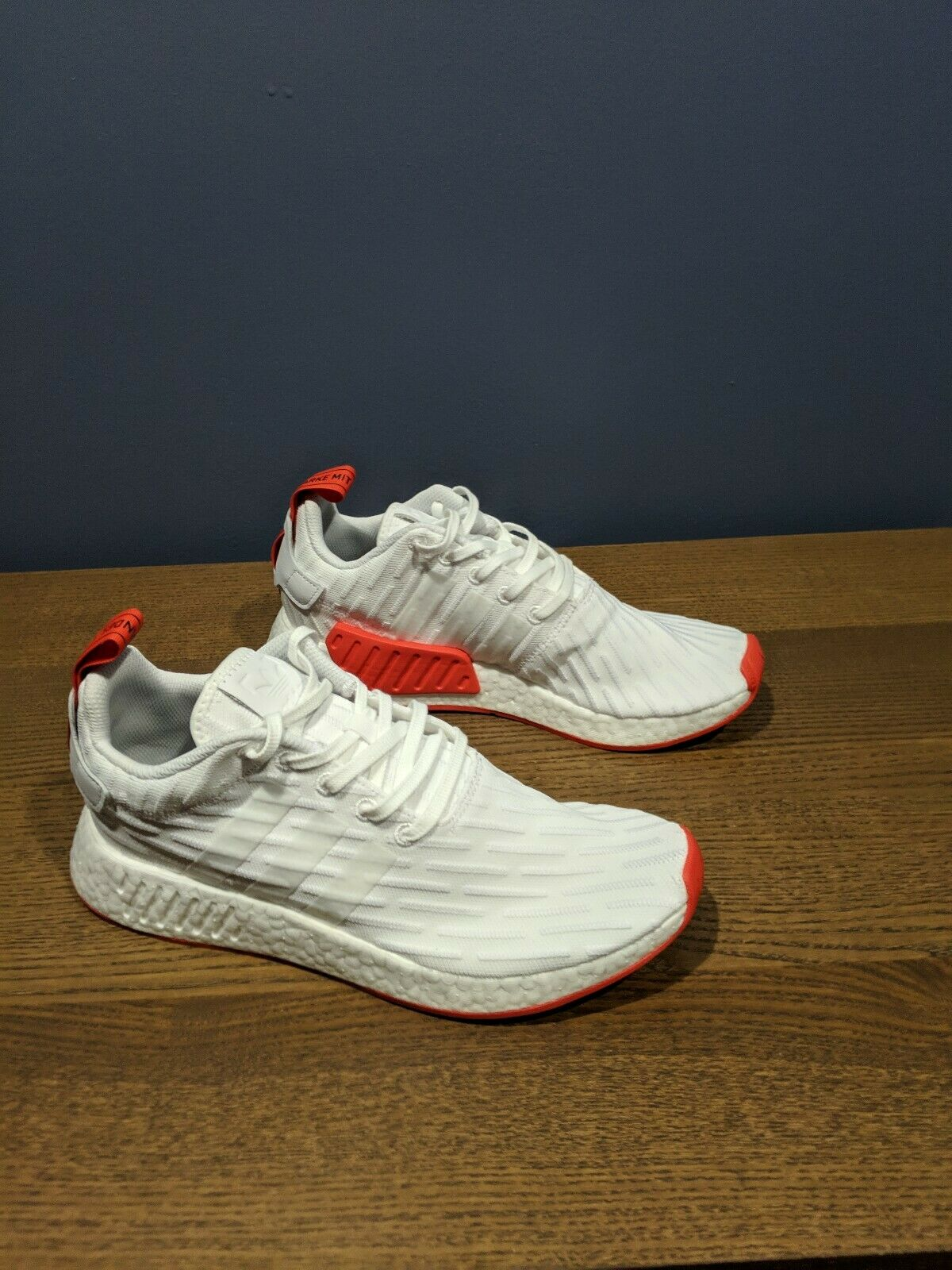 Adidas NMD R2 Prime Knit Size 9 White Core Red BA7253  NMD_R2 PrimeKnit
