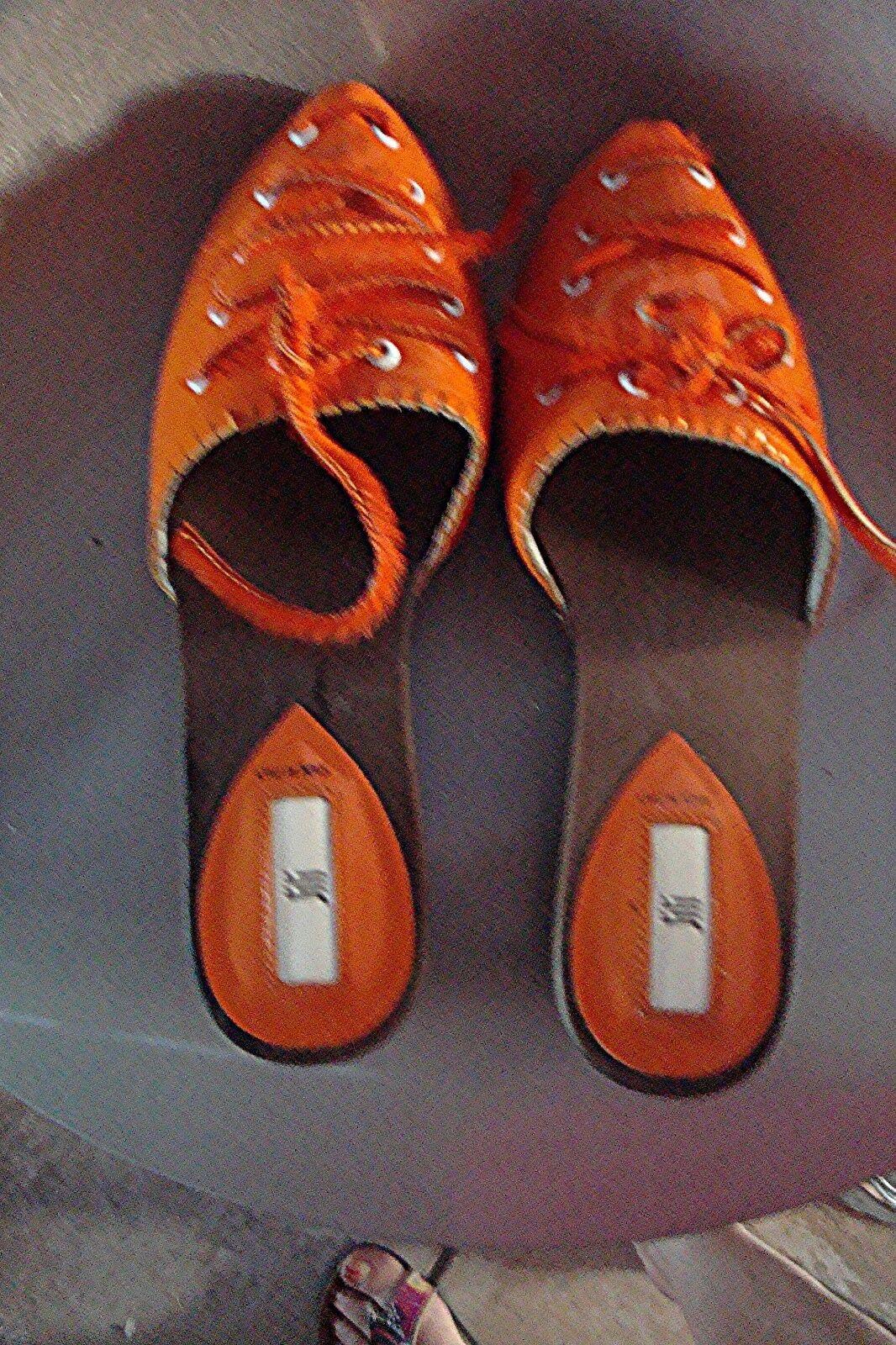 SABOT NU PIED JILI ORIGINAL EN VRAI CUIR  VERNI Orange NEUVE P 37 38 VALEUR