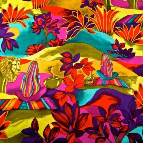 Vintage Brilliant John Kaldor Fabricmaker Cotton Print Egyptian Elements,PerYd