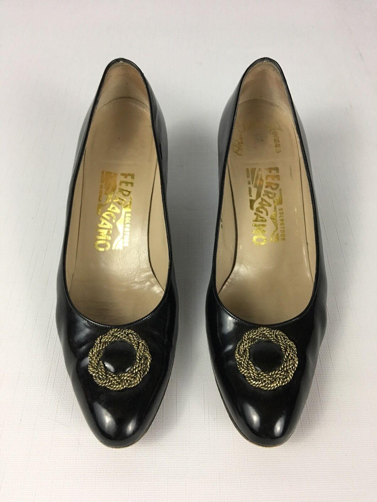Women's Vintage Salvatore Ferragamo Black Classic PERVINCA Heel Pumps 7.5 AAA