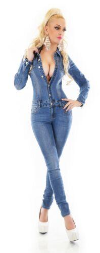 Manches Longues Jeans Combinaison Pantalon Coupe Skinny Bleu Délavé Denim S M L