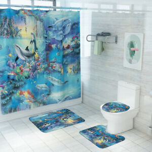 Dolphin-Bathroom-Rug-Set-Shower-Curtain-Non-Slip-Toilet-Seat-Lid-Cover-Bath-Mat