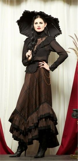 Lip Service Steampunk Plaid Long Skirt Gothic Goth Punk Brown/Black L