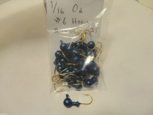 25 Count New Other Blue 1//16 Oz #6 Hook Bulk Round Head Jigs