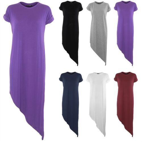 Womens Ladies Longline Baggy Asymmetric Hem Tee Shirt Side Slant T Shirt  Dress