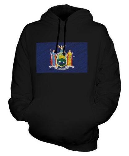 NEW YORK STATE SCRIBBLE FLAG UNISEX HOODIE TOP GIFT NEW YORKER FOOTBALL
