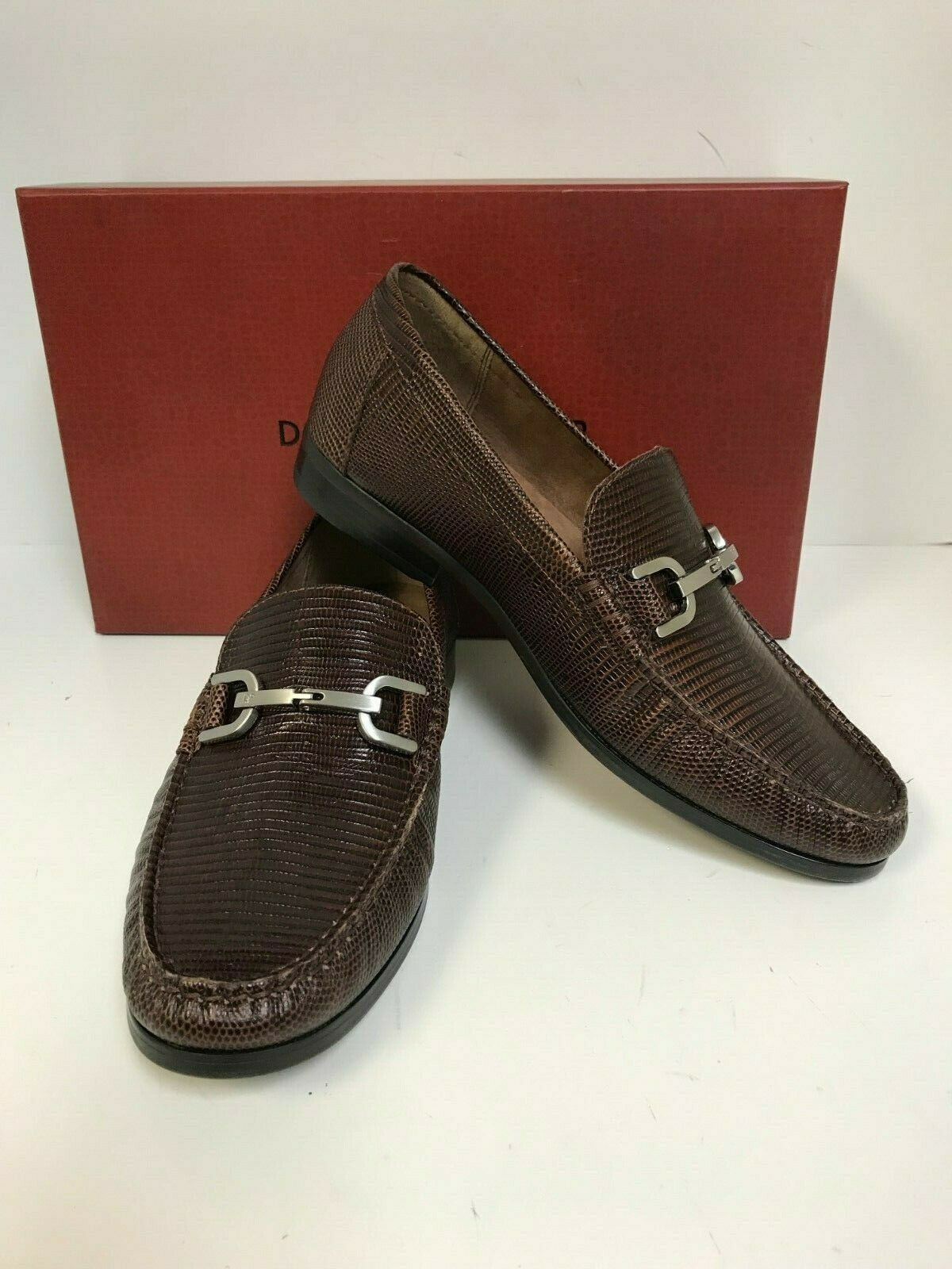 Donald Pliner Men's Niles-82 Brown Lizard Print Loafers with Silver Bit