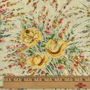 2-75-Yds-Linen-Fabric-Floral-Flower-Bouquets-Yellow-44-034-wide-Vintage