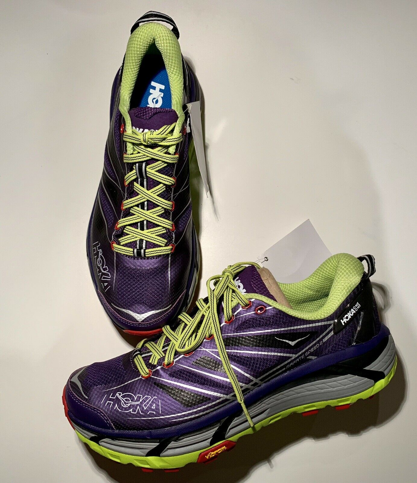 Hoka One One M Mafate Speed Running shoes Mulberry Purple  Acid Size 9 NWOB B1