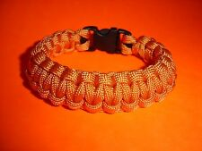 550 ParaCord Survival Cobra Braided Bracelet - Tangerine - Fits up to a 7 Wrist