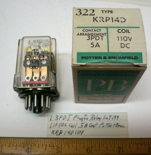 1 New PlugIn Relay,3PDT,110VDC Coils, 5A Cont.Potter Brum.#KRP14D110 Lot199 USA