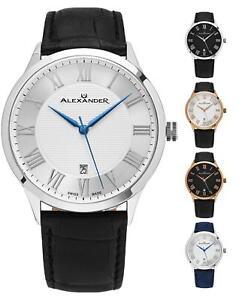 Alexander-Swiss-Made-Slim-9-mm-Dress-Men-039-s-Watch-Leather-Strap-Sapphire-Crystal