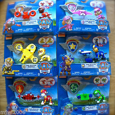 Nickelodeon PAW PATROL Air Rescue CHASE MARSHALL SKYE RUBBLE ROCKY ZUMA Bundle